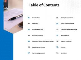 Table Of Contents Formation L653 Ppt Powerpoint Presentation Layouts Grid