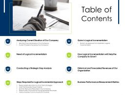 Table Of Contents Gap Analysis M2076 Ppt Powerpoint Presentation Inspiration Ideas