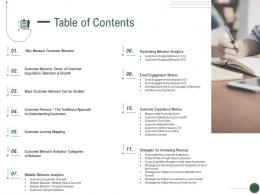 Table Of Contents How To Drive Revenue With Customer Journey Analytics Ppt Slide