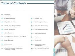 Table Of Contents Identify Crisis Management Team Ppt Presentation Show