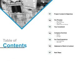 Table Of Contents Investment L724 Ppt Powerpoint Presentation Infographic