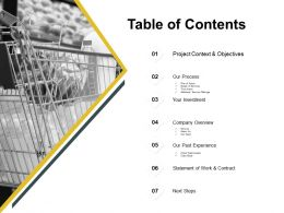 Table Of Contents Investment Ppt Powerpoint Presentation Pictures Icons