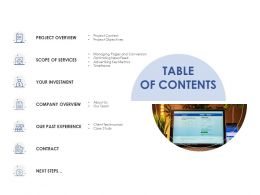 Table Of Contents Investment Ppt Powerpoint Presentation Summary Designs