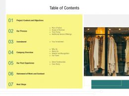 Table Of Contents L12160 Ppt Powerpoint Presentation Infographic Template Rules