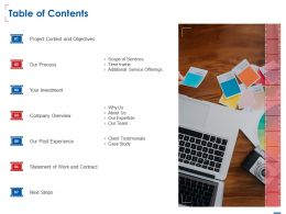 Table Of Contents L1523 Ppt Powerpoint Presentation Layouts Show