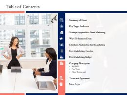Table Of Contents L1599 Ppt Powerpoint Presentation Show Diagrams