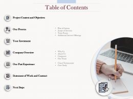 Table Of Contents L1612 Ppt Ppt Powerpoint Presentation Infographics