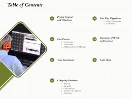 Table Of Contents L1637 Ppt Powerpoint Presentation Inspiration Background Image