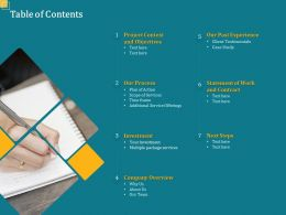 Table Of Contents L1685 Ppt Powerpoint Presentation Infographic Template Summary