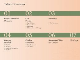 Table Of Contents L1747 Ppt Powerpoint Presentation Model Mockup