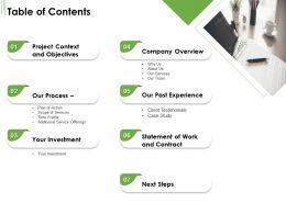 Table Of Contents L1753 Ppt Powerpoint Presentation Styles Skills