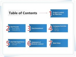 Table Of Contents L1778 Ppt Powerpoint Presentation Ideas Skills