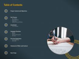 Table Of Contents L1781 Ppt Powerpoint Presentation Model Graphic Tips