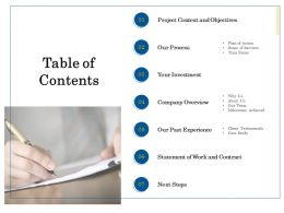 Table Of Contents L2059 Ppt Powerpoint Presentation Layouts Deck