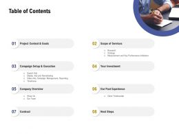 Table Of Contents L2062 Ppt Powerpoint Presentation Infographic Template Template