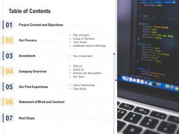 Table Of Contents L2154 Ppt Powerpoint Presentation Gallery Example File