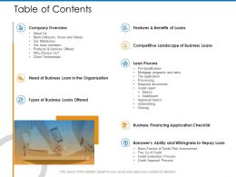Table Of Contents Loan Process M2374 Ppt Powerpoint Presentation Styles Visual Aids