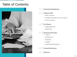 Table Of Contents Loan Request A1271 Ppt Powerpoint Presentation Inspiration Skills