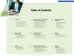 Table Of Contents M3197 Ppt Powerpoint Presentation Model Information