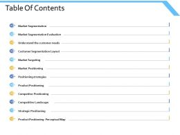 Table Of Contents Market Segmentation Ppt Powerpoint Presentation Slides Ideas