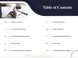 Table Of Contents Marketing And Business Development Action Plan Ppt Pictures