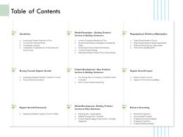 Table Of Contents Moving Towards Organic Growth Ppt File Display