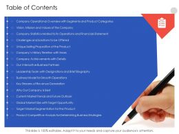 Table Of Contents N554 Powerpoint Presentation Formats