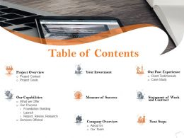 Table Of Contents Next Steps A1237 Ppt Powerpoint Presentation Outline Pictures
