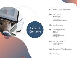 Table Of Contents Next Steps A1285 Ppt Powerpoint Presentation Inspiration Show