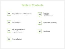 Table Of Contents Next Steps J75 Powerpoint Presentation Gallery Graphic