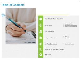 Table Of Contents Next Steps Ppt File Elements