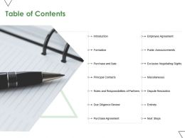 Table Of Contents Next Steps Ppt Powerpoint Presentation Inspiration Styles