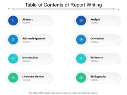 Table Of Contents Of Report Writing