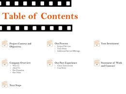 Table Of Contents Our Expertise Ppt File Example Introduction