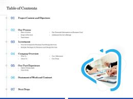 Table Of Contents Our Milestones Ppt File Formats