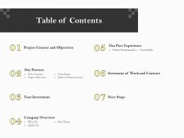 Table Of Contents Our Past Experience Ppt File Elements