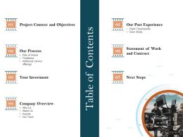 Table Of Contents Our Past Experience Ppt Icon
