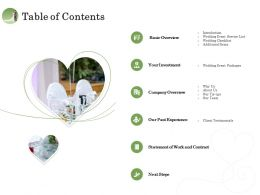 Table Of Contents Our Past Experience Ppt Inspiration