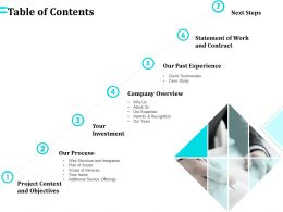 Table Of Contents Our Past Experience Ppt Powerpoint Presentation File Brochure
