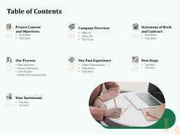 Table Of Contents Our Team Ppt File Aids