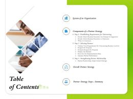 Table Of Contents Partner Strategy Steps Ppt Powerpoint Presentation Introduction