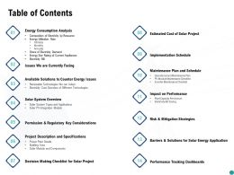 Table Of Contents Performance Ppt Powerpoint Presentation Background Designs