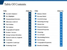 Table Of Contents Ppt Background Images