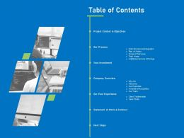Table Of Contents Ppt Powerpoint Presentation Gallery Infographic Template