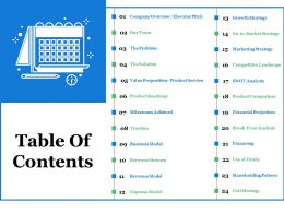 Table Of Contents Ppt Summary Layouts