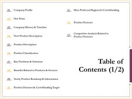 Table Of Contents Product Classification N232 Ppt Powerpoint Presentation Designs Download