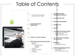 Table Of Contents Product Requirement Document Ppt Inspiration