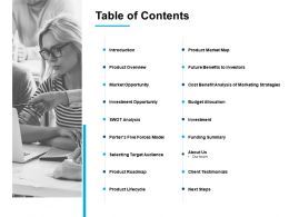 Table Of Contents Product Roadmap Ppt Powerpoint Presentation Styles Topics