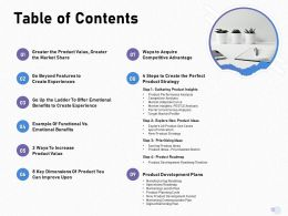 Table Of Contents Product Strategy M1707 Ppt Powerpoint Presentation Gallery Designs Download