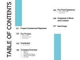 Table Of Contents Project Context And Objectives Ppt Infographics